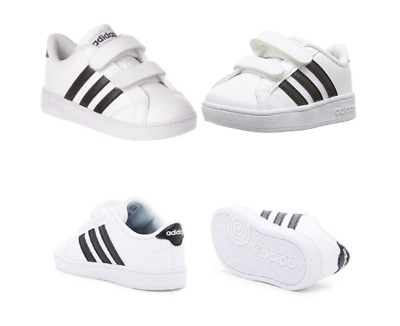 new ADIDAS kids BASELINE CMF toddler shoes sz 9K 26 classic boy sneakers white