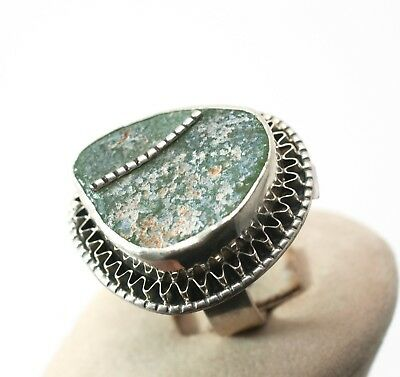 Roman Glass Hand Made Ring In Sterling Silver 925 #91
