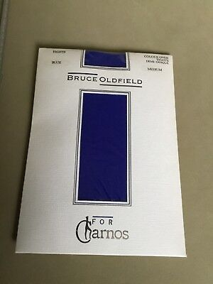 A Lovely Pair Of Bruce Oldfield Vintage Blue Demi-Opaque Tights Size Medium