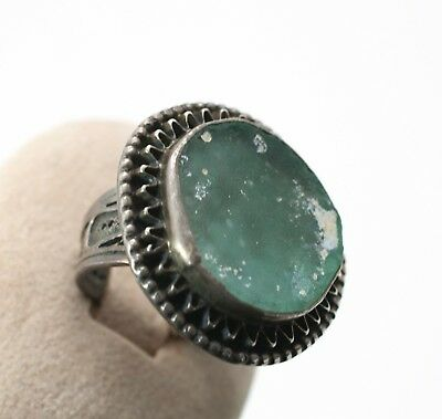 Roman Glass Hand Made Ring In Sterling Silver 925 #96