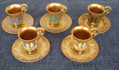 (5) D W DW Porcelaines Heavy Gold Gilt Footed Cups and Saucers
