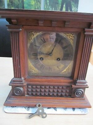 Antique Wooden Chiming Mantle Clock - Spares or Repair