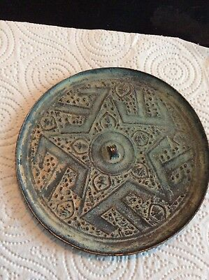 Chinese Archaic Bronze Hand Mirrorcast With A Central Star (Buddhist)