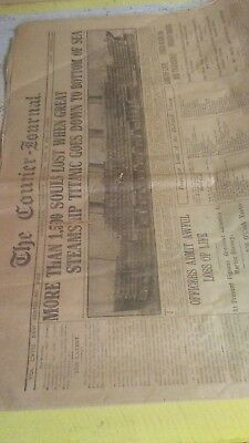 Titanic Sinks The Louisville Morning Courier Journal April 16th 1912 SM