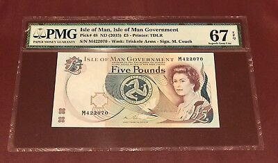 Isle Of Man 5 Pounds 2015 Pmg 67 Superb Gem Unc Pick 48 Sign M. Couch
