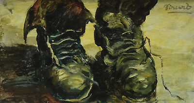 Fine Post-Impressionist oil painting, Shoes, signed, Vincent van Gogh with COA