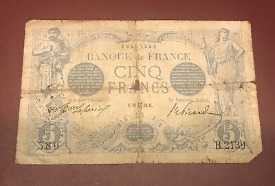 France French 5 Francs Bleu 1913 H2139 Rare Over 100 Years Old