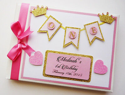 Personalised Princess / Crowns / First/1St Birthday Guest Book - Any Design