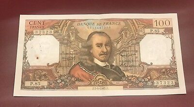 FRANCE FRENCH 100 FRANCS BANK NOTE CORNEILLE 1965 Pre Euro COLLECTIBLE
