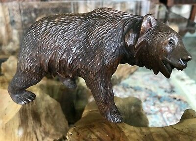 Damaged Antique Vintage Hand Carving of a Black Forest Swiss Bear
