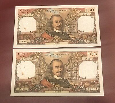 FRANCE FRENCH CONSECUTIVES 100 FRANCS BANK NOTEs CORNEILLE 1965 COLLECTIBLE