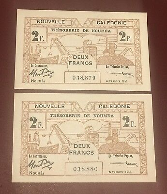 FRENCH NEW CALEDONIA & NOUMEA RUNNING PAIR OF 2 FRANC GEM UNC Pick 57 1943