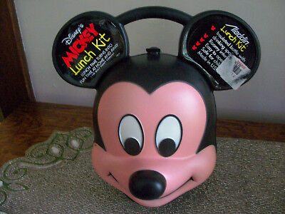 New Alladin Mickey Mouse Head Hard Plastic Lunchbox with Thermos
