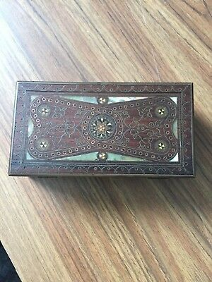 Rare Early Inlaid Wood Box With Mother Of Pearl And Many Woods.