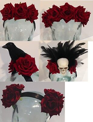 Gothic headpieces and hairclips with dark red velvet roses
