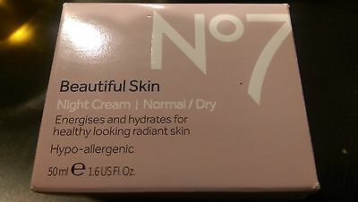 Boots No7 Beautiful Skin Night Cream For Normal / Dry Skin 1.6 Oz NEW