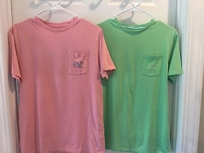 vineyard vines kids XL short sleeve t-shirts LOT OF TWO (2) pink and green