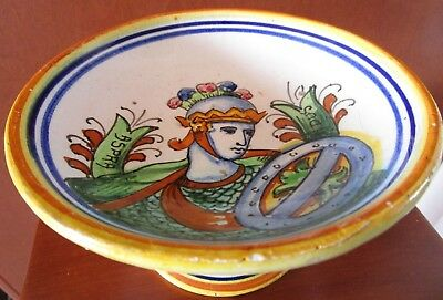 Antique  Italian Majolica Faience Pottery Pedestal Bowl Roman Soldier Signed