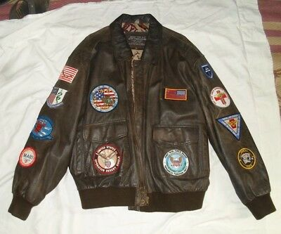 US ARMY Operation Dessert Shield BOMBER LEATHER JACKET Men's Size 2XL W/ PATCHES