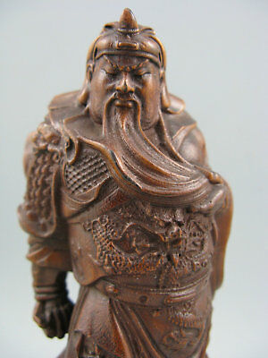 Antique Chinese Old Boxwood Hand Carved GuangGong 关公 Statue Amulet Netsuk