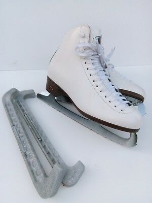 Riedell white leather ladies figure skating boots UK 6 with blade protectors