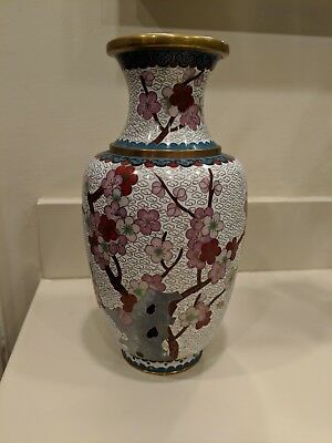 "Vintage Chinese Cloisonne Vase White with Cherry Blossom Flowers & Bird 10"" Tall"