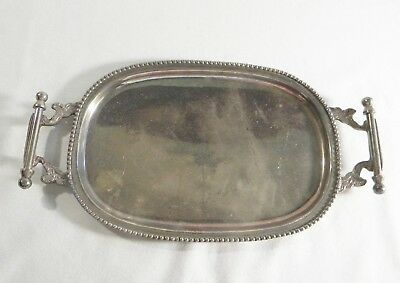 """Vintage Small Silver Plate Tray 9"""" + Handles"""