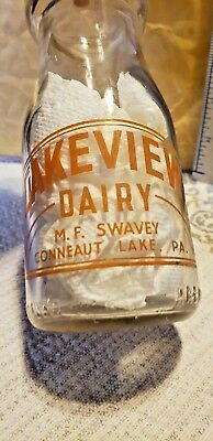 LAKEVIEW DAIRY MF SWAVY CONNEAUT LAKE PA 1/2 Pint Milk Bottle Painted Label