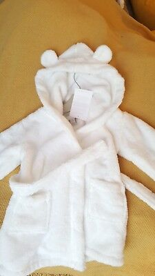 The little white company cotton dressing gown hood ears 6-12 Mths New with tags