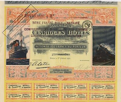 Cie. des CLARIDGES Hotels S.A. – Aktie über 100 Francs, PARIS, 1. Feb. 1921