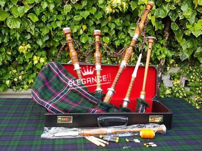 Great Highland Bagpipe Silver Mounts/Scottish Bagpipes with Hard Case Tutor Book