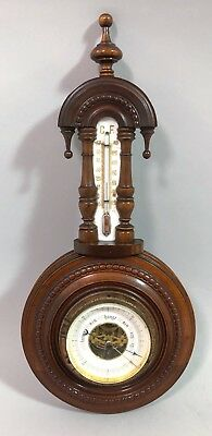 Antique Victorian walnut porcelain wall aneroid barometer thermometer gilt brass
