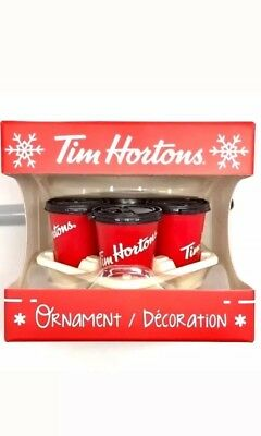 New 2018 TIM HORTON'S Coffee Carryout TRAY & red CUPS Christmas ORNAMENT