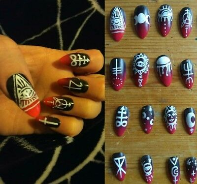 Stiletto false nails glue black red ombre occult witch killstar style Christmas
