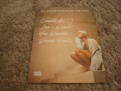 ARIANA GRANDE 2018 Billboard Woman of the Year congrats ad from Republic Records