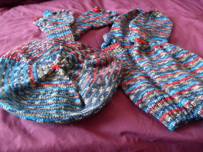 Ladies Matching Set of HandKnit  Fingerless Gloves Slouchy Socks Tammy style Hat