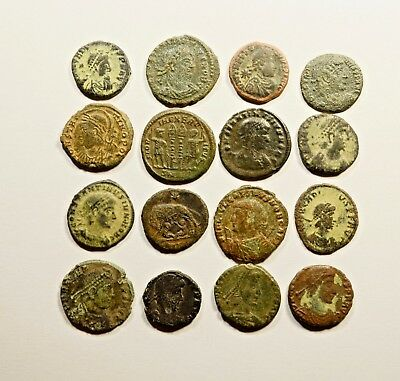 Lot Of 16 Imperial Roman Bronze Coins For Identifying - 065