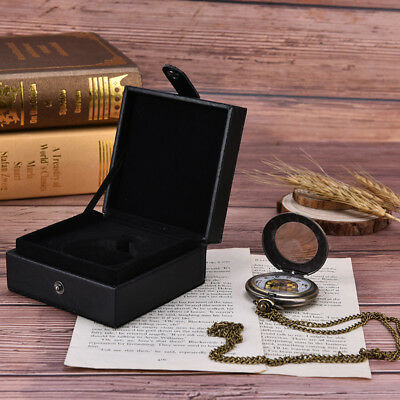 black leather display case single pocket watch jewel chain storage gift box S*