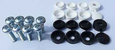 Front Number Plate screw caps / covers black / white set / kit - Licence Reg