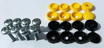 Rear Number Plate screw caps / covers black / yellow set / kit - Licence
