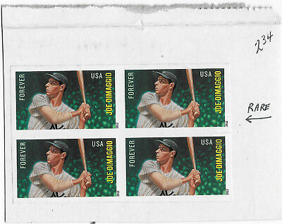 2012 USA Joe Dimaggio forever imperforate block of 4 on piece sport baseball