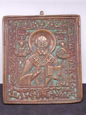 Antique Russian Orthodox bronzes Icon St. Nicholas miracle worker