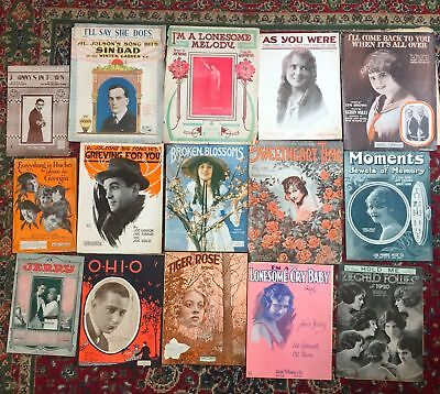 Antique Vintage  Sheet Music  Photo Covers 15 pc lot