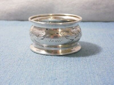"""Coin Silver Napkin Ring ~ Repousse Leaf Unmarked ~ """"Annie"""" Monogram"""