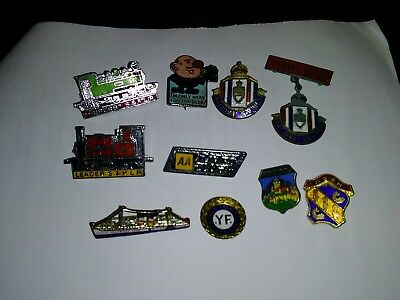 Collection of Vintage Enamel pin / lapel Badges Inc railway etc