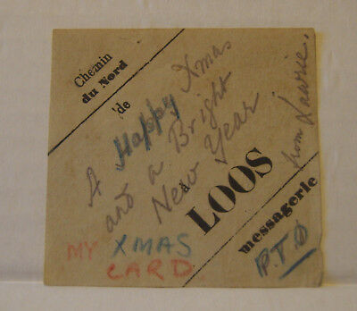 WW1 British trench made Christmas card from Loos