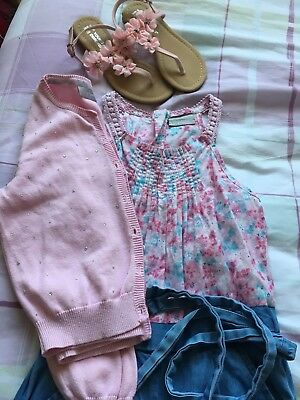 Matalan Girls Jumpsuit, Cardi and Sandals - age 6-7