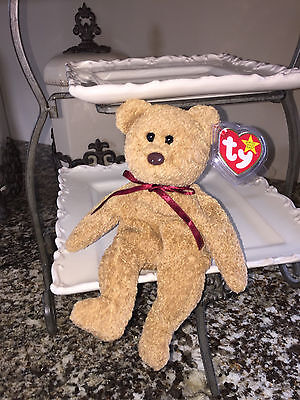 "Ty Beanie Baby, Bear ""Curly"", With Tag Errors 'Retired', Plush Rare Find! Look!"