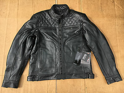 """RKS Mens Classic Cafe Racer style Leather Motorcycle Jacket UK 44"""" 46"""" chest B14"""