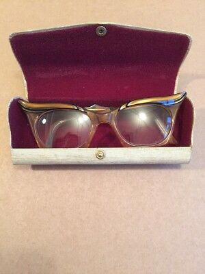 Vintage Winged Reading Glasses and Case - Curry & Paxton